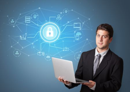 Young smiling person presenting office cloud technology concept