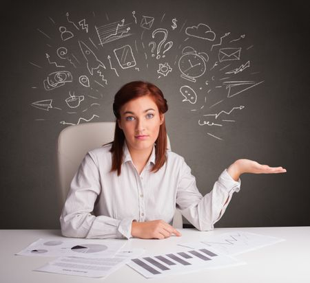 Manager in front of the office desk with different direction concept