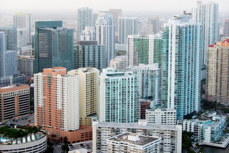 Tall buildings in the city of Miami from the air