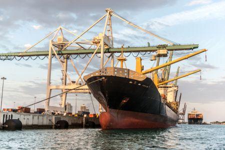 Trade boat at the poart of Miami