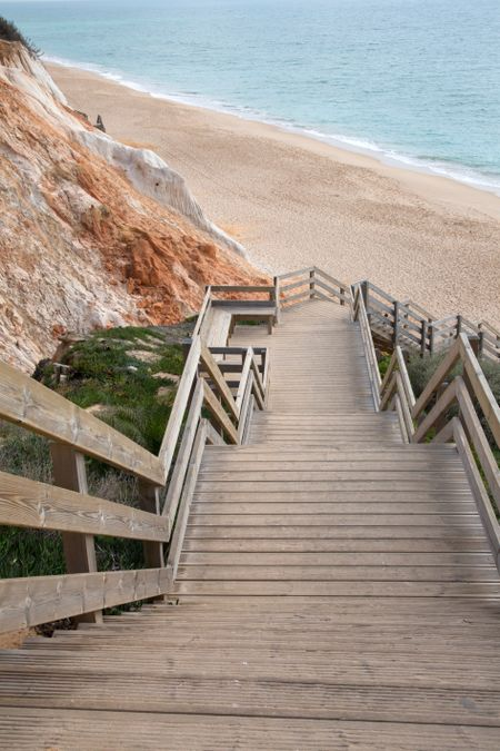 Steps at Cliff, Falesia Beach; Algarve; Portugal