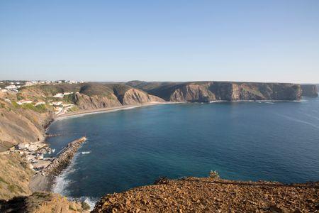 Arrifana Beach and Harbor; Algarve; Portugal; Europe