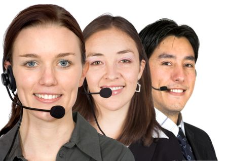 customer service team over white
