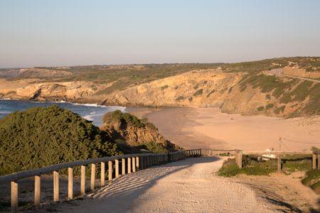 Cliff and Beach at Monte Clerigo; Portugal