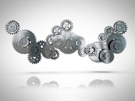 3D metallic cogwheel mechanism engaged - in a grey color