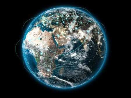 3D Earth with global connections (Collage images from www.nasa.gov)