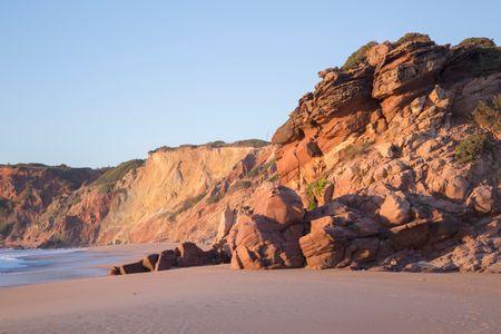 Empty Amado Beach in Algarve; Portugal