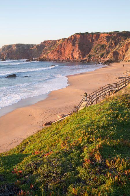 Green Headland at Amado Beach; Algarve; Portugal
