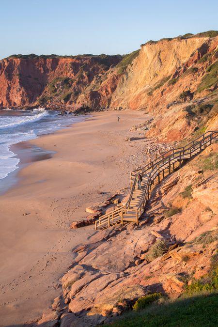 Cliffs Face at Amado Beach Bay; Algarve; Portugal; Europe