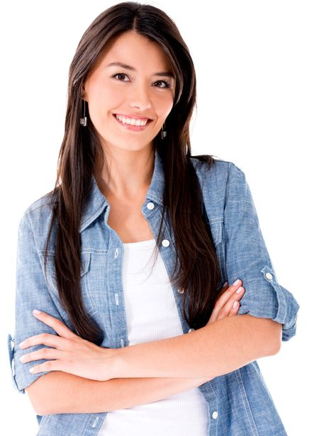 Casual Latin woman smiling - isolated over a white background
