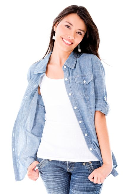 Sweet casual woman smiling - isolated over a white background
