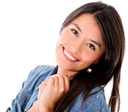 Portrait of a cute woman smiling - isolated over a white background