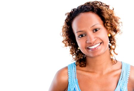 Happy black woman portrait - isolated over a white background