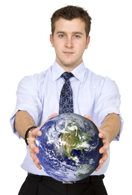 business man holding globe over a white background, shot in studio