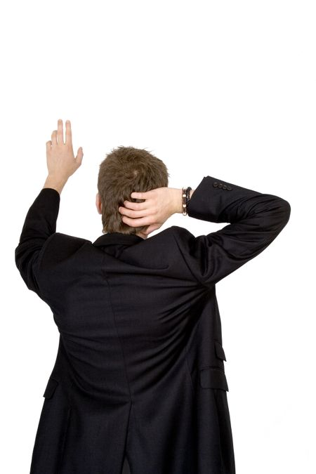 business man pointing from the back over a white background