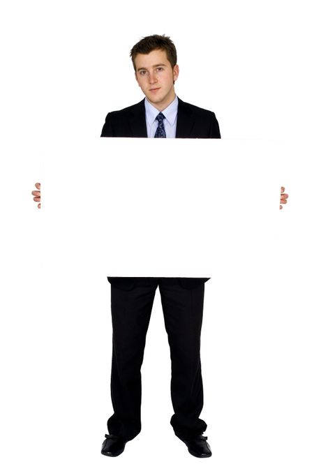 business man holding banner over white