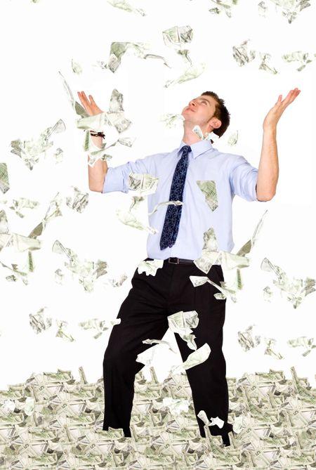 business millionaire - dollar bills raining on him