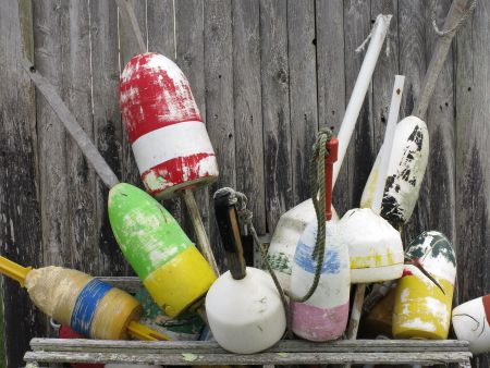 Collection of lobster trap buoys in Cape Cod, Massachusetts