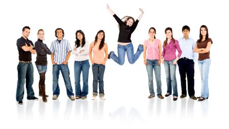 group of casual happy people with one succesful girl jumping and smiling  isolated over a white background