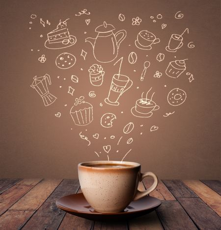 Steaming hot drink decorated with doodle drawings
