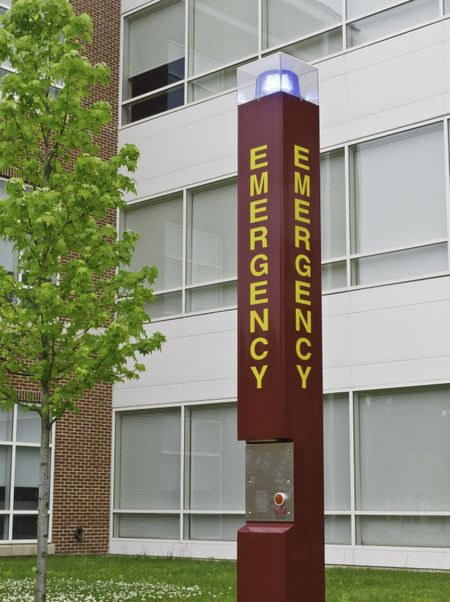 Emergency station on college campus