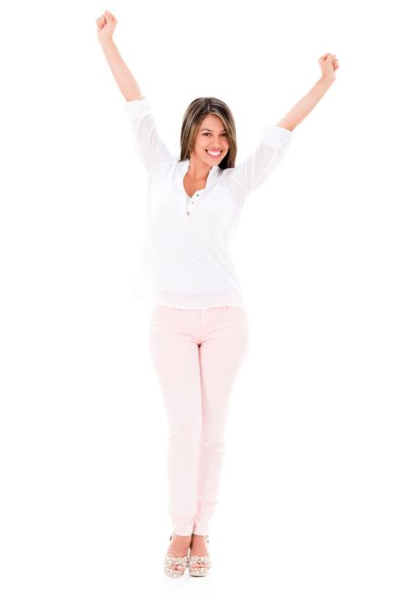 Successful woman with arms up looking happy - isolated over white