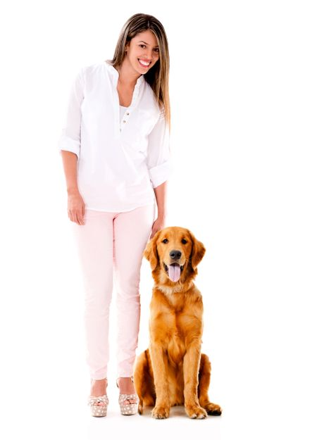 Woman with a cute dog - isolated over a white background