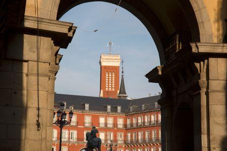 Santa Cruz Church Tower; Plaza Mayor Square; Madrid; Spain