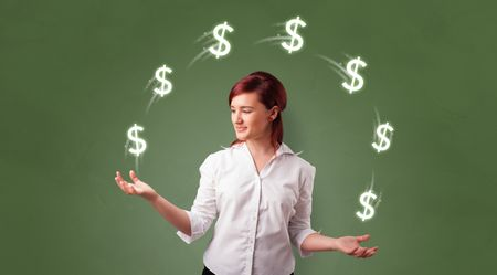 Young happy person juggle with dollar symbol