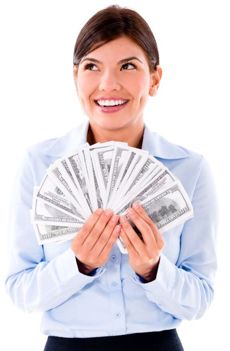 Thoughtful business woman thinking how to spend money - isolated over white