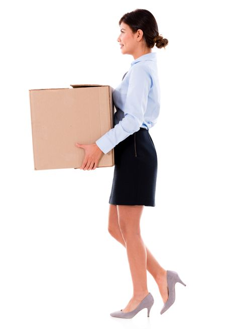Business woman moving and holding cardboard box - isolated