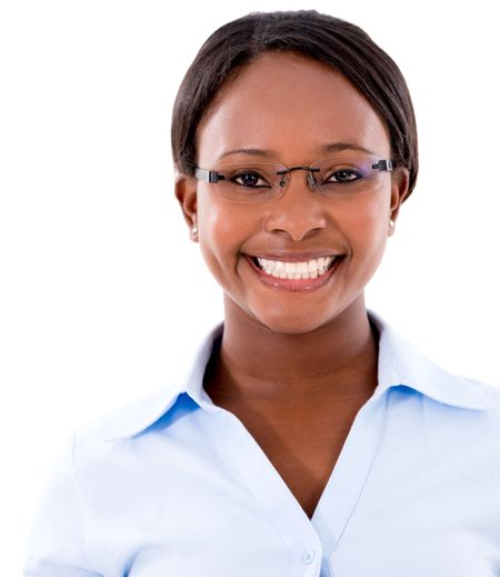 Portrait of a black business woman smiling - isolated over a white background