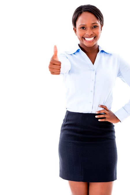Business woman with thumbs up - isolated over white background