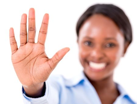 Business woman making talk to the hand gesture - isolated over white