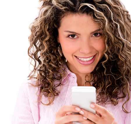 Happy woman texting on her phone - isolated over white background
