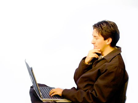 Young man using a laptop