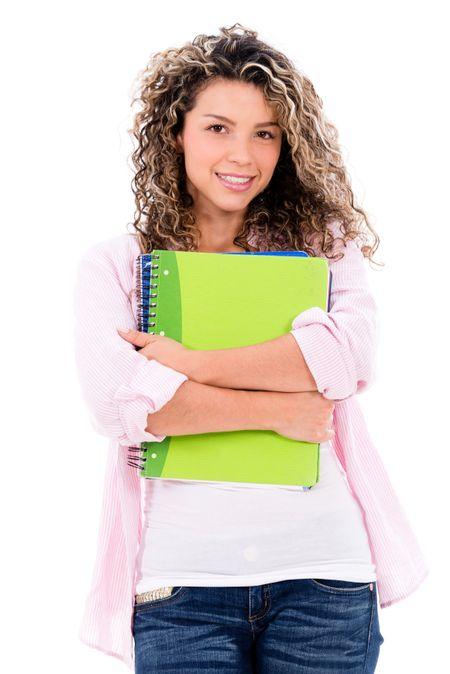 Happy female student holding notebooks - isolated over white background