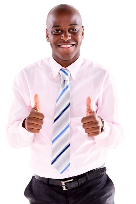 Very happy business man with thumbs up - isolated over white background