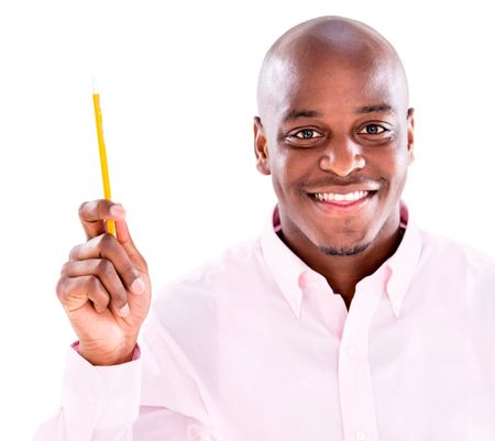 Business man pointing an idea with a pen - isolated over white