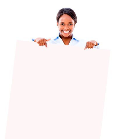 Business woman pointing at a banner - isolated over white background