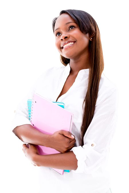 Thoughtful female student looking up - isolated over a white background