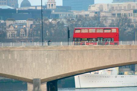 London Bus Crossing waterloo bridge