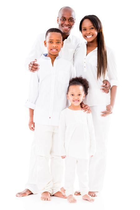 Beautiful African American family smiling - isolated over white background