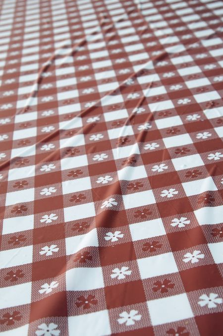 Checkered tablecloth in red and white with long creases