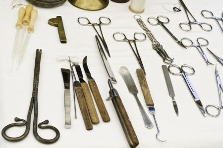 Vintage and representative surgical instruments on display at July 2013 reenactment of Battle of Chickasaw Bayou (1862) in the American Civil War, Wauconda, Illinois