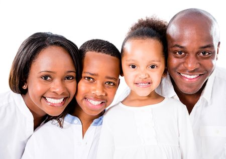 Family portrait smiling looking happy - isolated over white