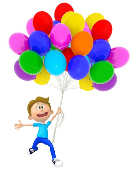 3D party boy with balloons - isolated over white background