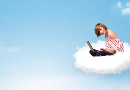 Pretty young woman with laptop sitting on cloud with empty space