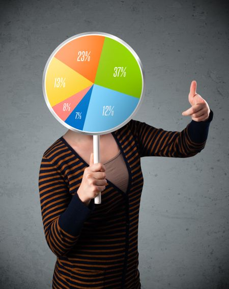 Young lady holding a colorful pie chart in front of her head