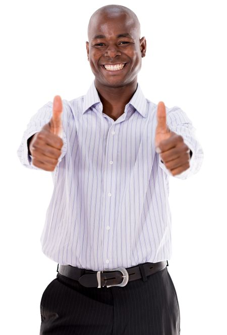 Very happy business man with thumbs up - isolated over white